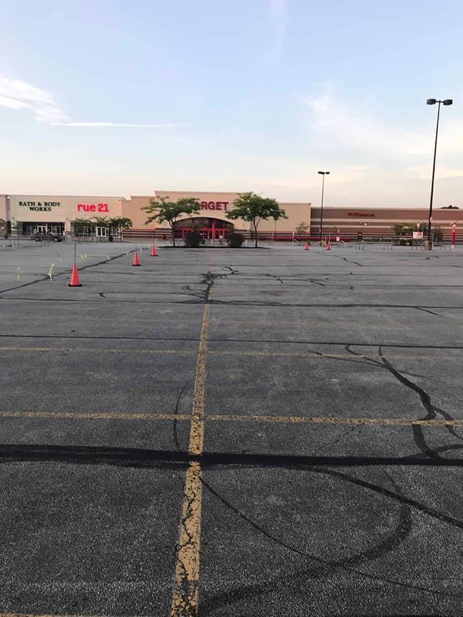 Target parking lot in Valparaiso before resurfacing