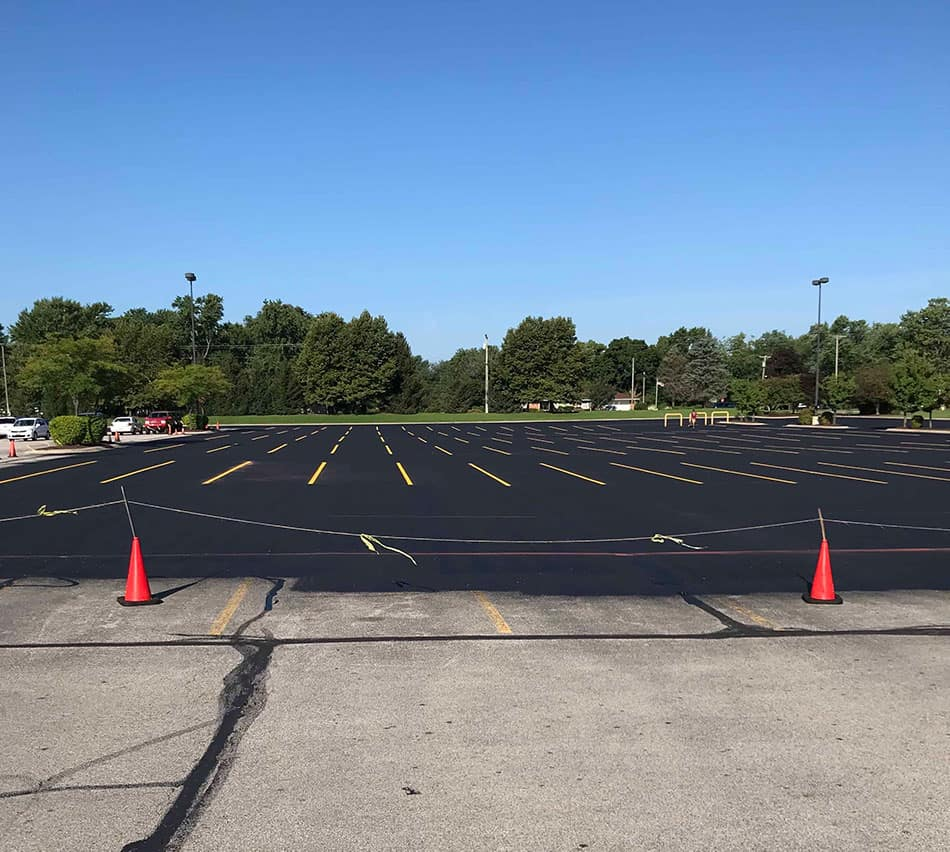 A large parking lot in the process of being resurfaced in Chesterton.